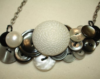 Button Necklace -OYSTER BAY -Vintage Buttons - PEARL - Silvery Gray - Vintage Button Jewelry