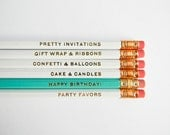 Happy Birthday Pencils- White, Aqua, & Gold, Set of 6