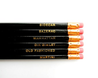 Classic Cocktails Pencils, Black & Gold, Stocking Stuffers- Set of 6