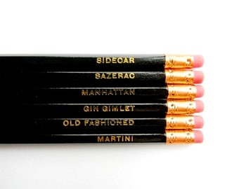 Classic Cocktails Pencils, Black & Gold- Set of 6