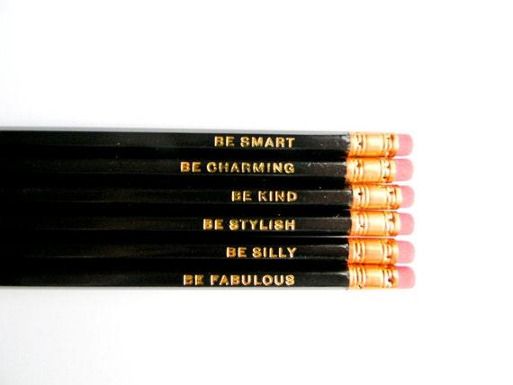 Gentle Reminders Pencils- Black, Set of 6