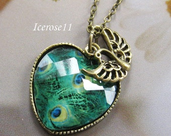 Peacock heart and feather charms necklace - Neck91