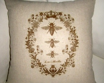 French Queen Bee BROWN Pillow with Crown, Shabby Chic Paris Inspired Country Farmhouse Cushion, France, Cotton, Burlap, Linen Home Decor