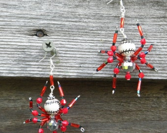 Beaded Baseball  Spider Earrings