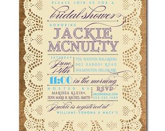 Lace Burlap Bridal Shower Invitation Plum Purple Blue Ivory Rustic Bridal Wedding Typography Printable Digital or Printed - Jackie Style