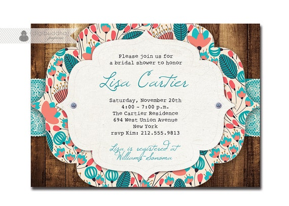 Lace Wood Bridal Shower Invitation Coral Teal Turquoise Aqua