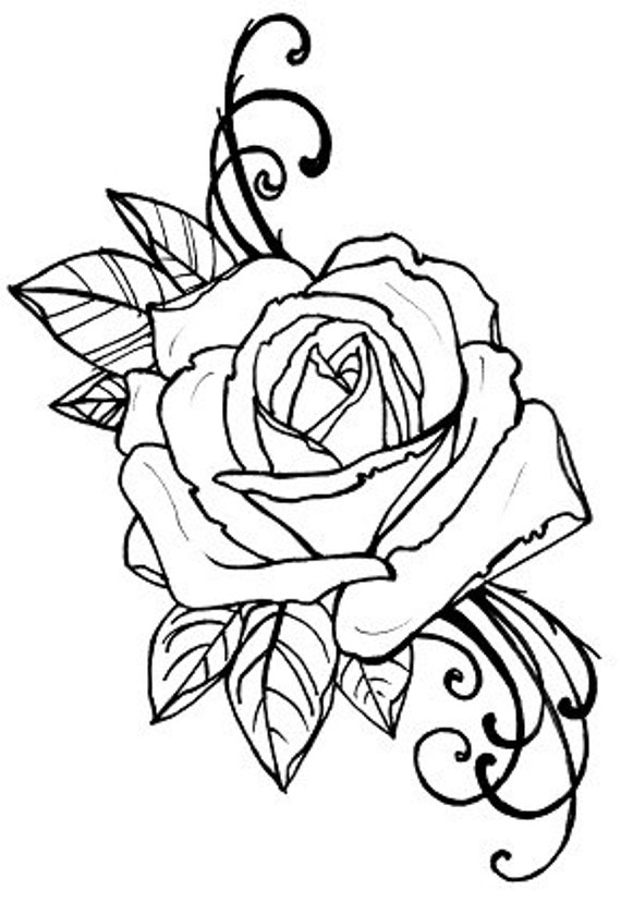 Items similar to coloring book page, tattoo rose digital ...
