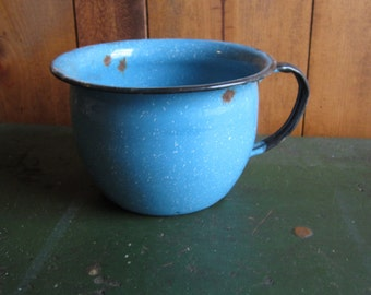 Antique Graniteware Bowl Speckled Blue with Black Handle Primitive Item