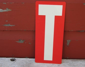 1 Plastic Letter T Sign Double Sided Blue and Red Vintage Marquee Letter Sign 1980s Display Board