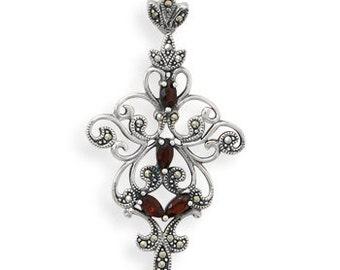 Vintage Style Ornate Marcasite and Garnet Pendant - 925 Sterling Silver