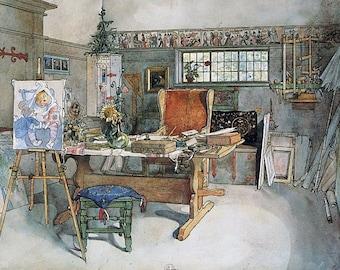 FINE ART Print  of INTERIOR by Carl Larsson of  Art Studio 1895