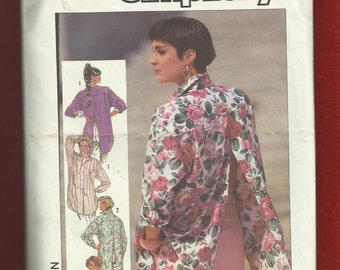 1985 Simplicity 7329 Classic Mid 80's Big Shirt with a Vent from Hem to Yoke Size Medium 14/16 UNCUT