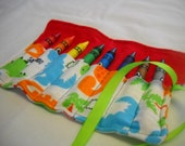 Dinosaur Crayon Roll Up - Holds 8 Jumbo Crayons