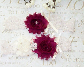 WEDDING SALE.Plum Wedding,Wedding Garter,Lace Garter,Plum and Ivory Garter,Plus Size,Plus Size Garter,Plus Size Bride,Bridal,Plum Wedding