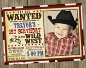 Cowboy Birthday Party Invitation - Photo Option