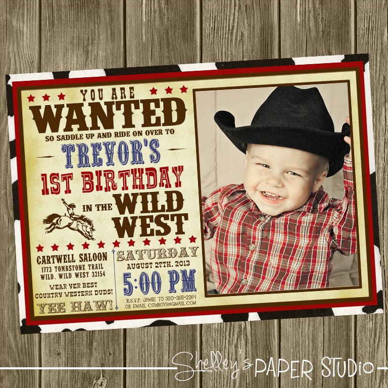 cowboy birthday party invitation photo option, Birthday invitations