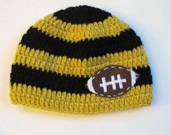 Football Crochet Baby Hat with Felt Appliqué   Saints Baby Hat  Sizes Newborn to Teen