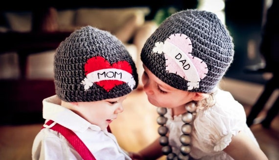 Brother & Sister Matching I Heart Crocheted Hats With Felt Appliqués - Valentine's Day - Pick from sizes 12-24 or 2T-4T