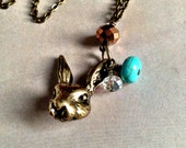 Whimsical Bunny Rabbit Head Charm with Turquoise, Clear, and Iridescent Copper Beads Necklace