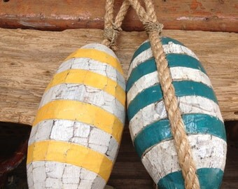 Beach Decor, Set Yellow and Akva Buoys, Vintage by SEASTYLE