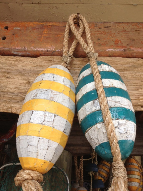 Items similar to beach decor set yellow blue buoy for Beachy decor items