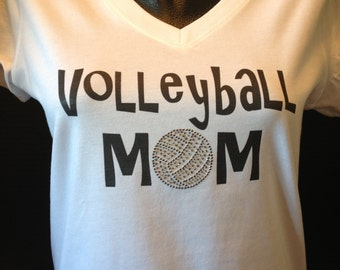 Volleyball Mom Bling and Print and Bling T-Shirt