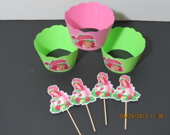 Strawberry Shortcake Cupcake toppers & Wrappers (set of 12)