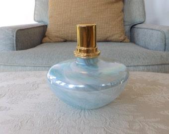 Vintage Art Glass Oil Lamp/Iridescent Glass Oil Lamp