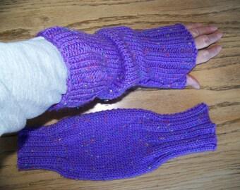 Hand Knit Wrist Warmers / Fingerless Gloves / Texting Gloves Grape Tweed Acrylic Yarn