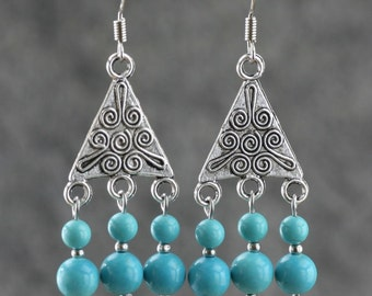 Turquoise Chandelier dangling earrings  Bridesmaid gifts Free US Shipping handmade Anni designs