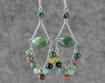Stone agate Chandelier dangle earrings Bridesmaid gifts Free US Shipping handmade Anni designs