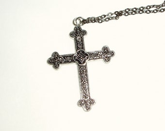 Cross Pendant Long Chain Necklace - Heavy Goth Gothic Cross Pendant on Long Gunmetal Chain