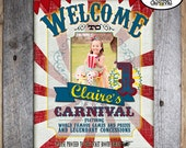 Carnival Party - Circus Party - Welcome Poster Sign with Photo - Customized Printable - Red - Blue - Yellow (Vintage Inspired)