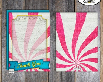 Carnival Party - Circus Party - Thank You Notes & Wrap Around Address Labels - Pink Blue Yellow - Printable (Girl, Vintage, Big Top)