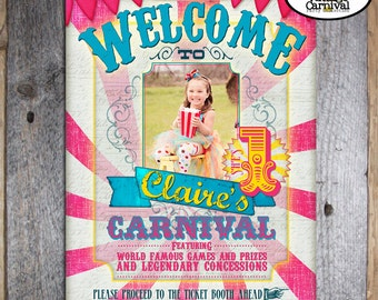 Carnival Party - Circus Party - Welcome Poster Sign with Photo - Customized Printable - Pink - Blue - Yellow (Girl, Vintage Inspired)