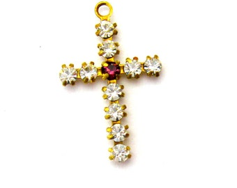 Crystal Cross Charms - 3 Crystal and Amethyst - one loop prong set Austrian Crystal findings Jewelry Supplies Charms Dangles