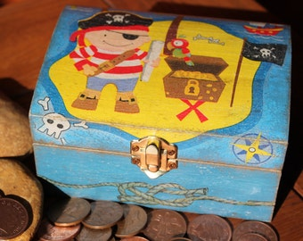 Decoupaged Wooden Treasure Trinket Keepsake Box for Boys Little Pirate MADE TO ORDER