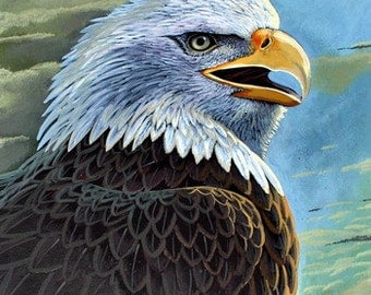 Bald Eagle Painting Original, Wildlife Art, Nature, Painting, Wall Decor, Watercolor