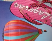 Hippy Dippy Flip Flops with Pink and Black Cord