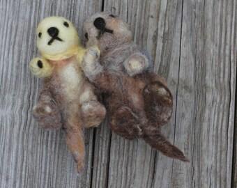 Needle Felted Sea Otter Pair
