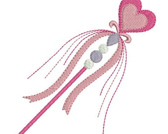 Instant download princess wand machine embroidery design