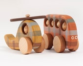 Wooden Toy Bus and Helicopter, Wooden Vehicle Toys, Natural Kids Toys