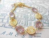 Vintage Swarovski Stone Bracelet in Light Amethyst with Floral Stamped Charms