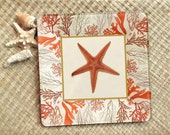 Coastal Cottage / Coral / Starfish / Hanging Plates / Decoupage Plate Wall Hanging  / Koi / red coral decor