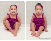 SALE Lace petti romper - RASPBERRY - Photography Prop - With or without straps