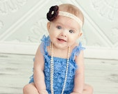SALE Lace petti romper - EGYPTIAN BLUE - Photography Prop - With or without straps or bow