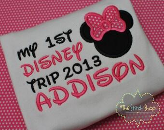 Minnie My 1st Disney Trip Monogrammed and AppliquedShirt
