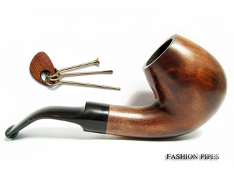 Set Sherlock Holmes Wooden Pipe & Tamper, Tobacco Pipe Smoking Pipe of Pear Bent 5'' Carving Handmade, BEST OFFER