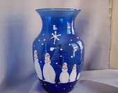 Snowman family Hand Painted cobalt blue Vase
