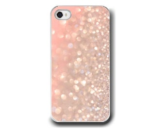 Pastel Pink, iPhone 5 4 4s Case, Pink White Sparkle Love Coral Salmon Abstract Bokeh, Romance, Cell Phone Case, Accessory for iPhone 5 4 4s